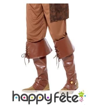 Couvres bottes marron de pirate, deluxe