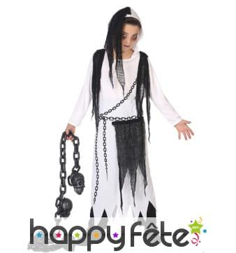 Costume blanc noir de petit fantôme