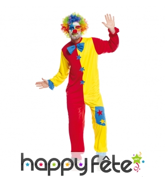 Costume bicolore rouge et jaune de clown