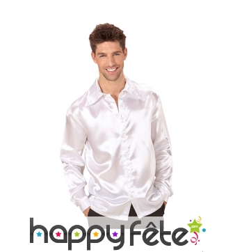 Blanche Homme Pour Chemise Satinée Disco IYmyfgvb76