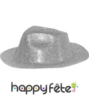 Chapeau capone avec paillettes argentées