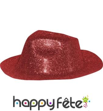 Chapeau capone avec paillettes rouge