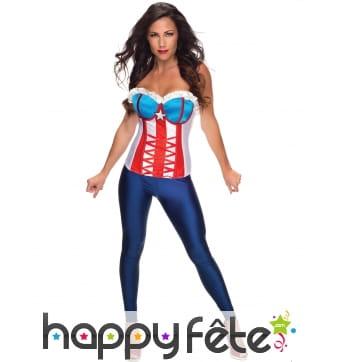 Corset Captain America bleu blanc rouge pour femme