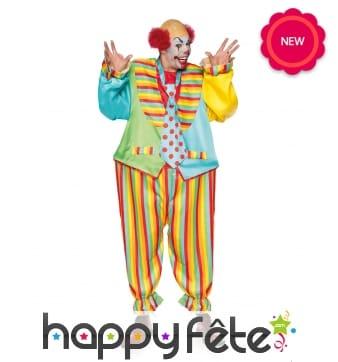 Combinaison colorée de clown pour homme
