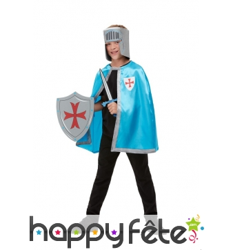 Cape, casque, épée et bouclier de chevalier enfant