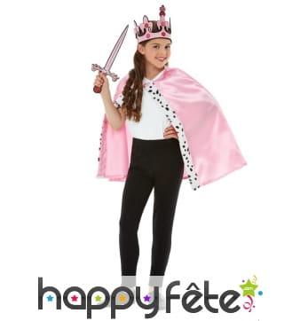 Cape, couronne et épée de princesse pour enfant