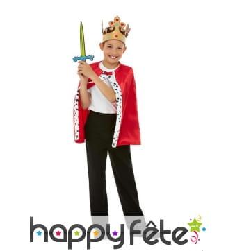 Cape, couronne et épée de roi pour enfant