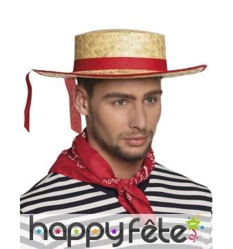 Chapeau canotier en paille avec ruban rouge