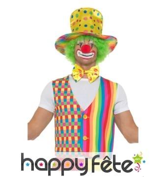 Chapeau, cravatte et gilet de clown à pois
