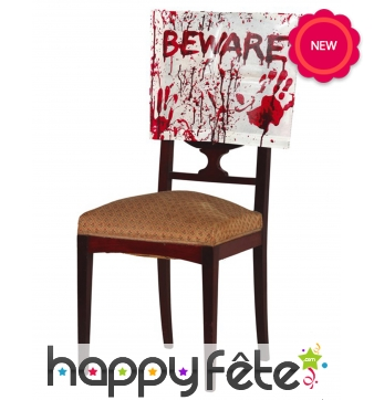 Couvre chaise ensanglanté pour Halloween, Beware
