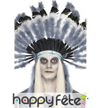 Chapeau chef indien plumes grises