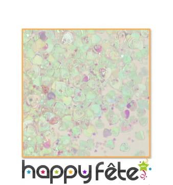 Confettis coeurs iridescents, 14g