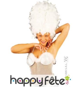 Coiffe cabaret marabout paillettes blanche