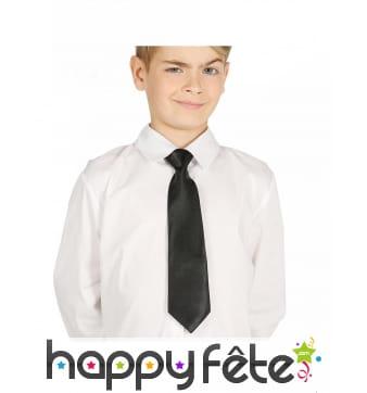 Cravate classique noire pour enfant, 30 cm