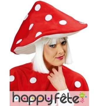 Chapeau champignon rouge pour adulte