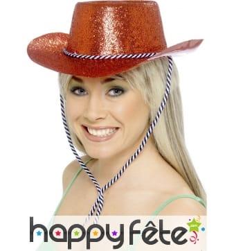 Chapeau cowgirl rouge brillant