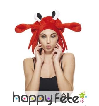 Chapeau crabe rouge pour adulte