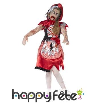 Costume chaperon rouge zombie pour enfant