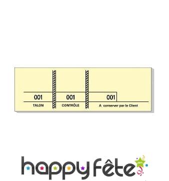 Carnet de 100 tickets 3 souches numerotees jaune