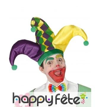 Chapeau d'arlequin tricolore pour adulte