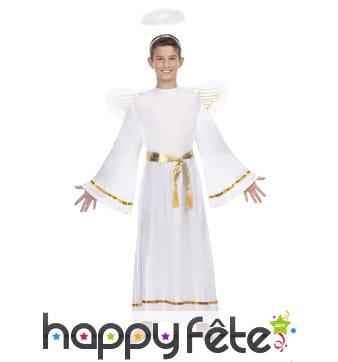 Costume d'ange blanc et doré avec ailes, enfant