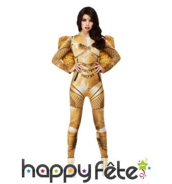 Costume d'ange gardien doré avec ailes pour femme