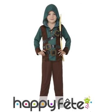 Costume d'archer des bois marron et vert, garçon