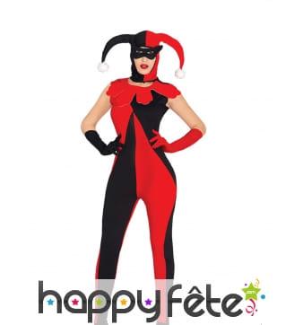 Costume d'arlequin bicolore rouge et noir femme