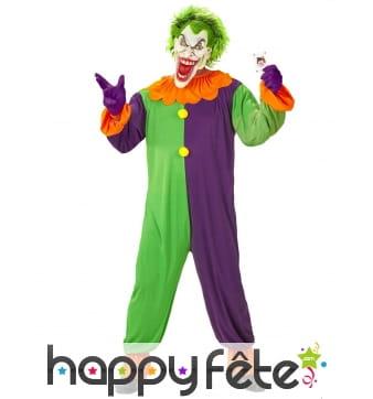 Costume d'arlequin fou coloré avec masque
