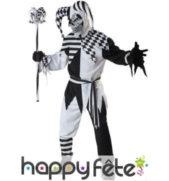 Costume d'arlequin halloween noir et blanc, adulte