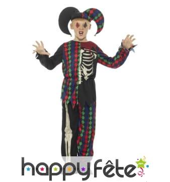 Costume d'arlequin squelette coloré pour enfant