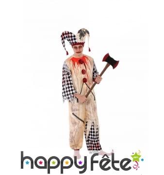 Costume d'arlequin tâché de sang pour homme