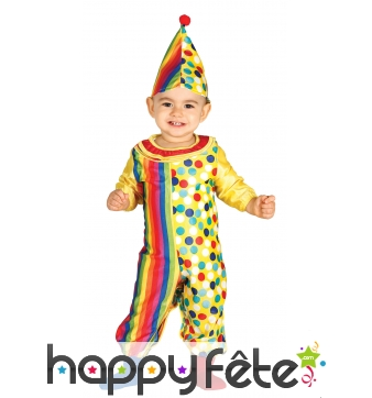 Combinaison de bébé clown lignes et pois