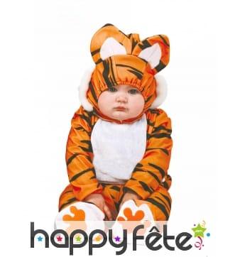 Combinaison de bébé tigre avec cagoule