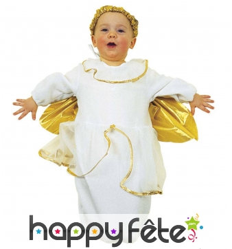 Costume de bébé ange blanc ailes dorées