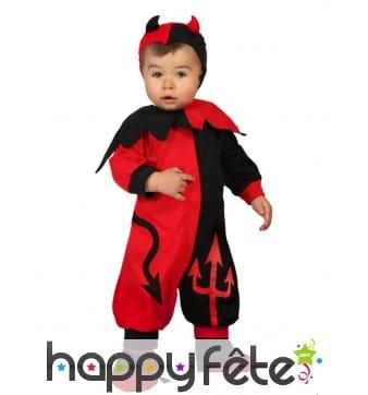 Costume de bébé diable rouge et noir