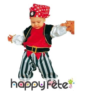 Costume de bébé pirate rouge et noir