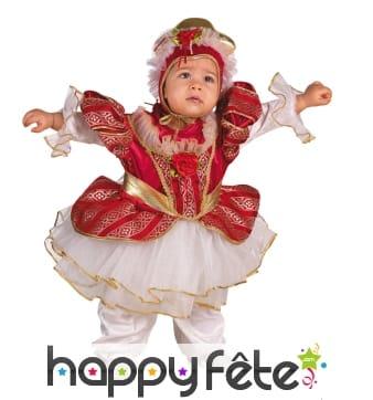 Costume de bébé princesse rouge et doré avec tulle