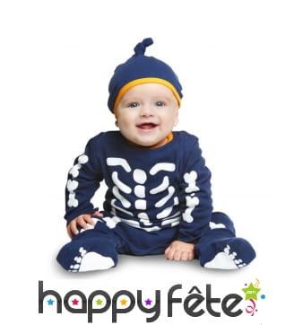 Costume de bébé squelette bleu