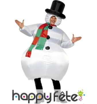 Costume de bonhomme de neige gonflable