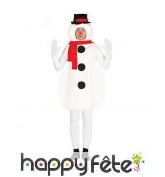 Costume de bonhomme de neige pour adulte