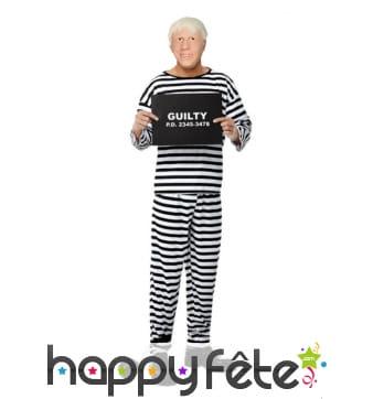 Costume de Boris Johnson prisonnier avec masque