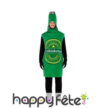 Costume de bouteille de bière lukinbetta, adulte