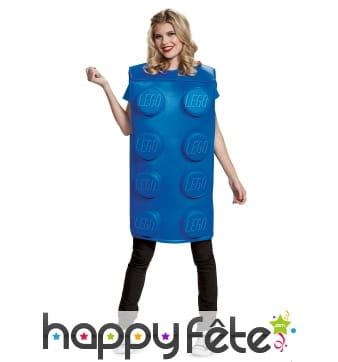 Costume de brique bleu Lego pour adulte