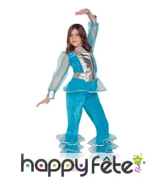 Costume disco bleu pour enfant fille