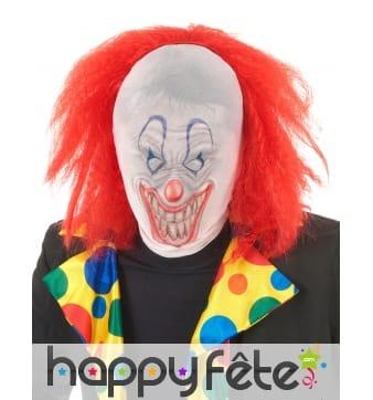 Cagoule de clown avec cheveux rouges