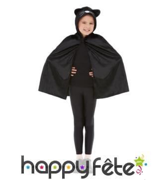 Cape de chat noir avec capuche, pour enfant