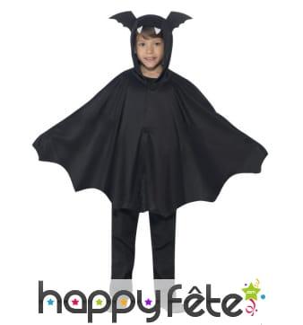 Cape de chauve souris pour enfant, avec capuche