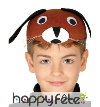Chapeau de chien rigolo marron et noir enfant