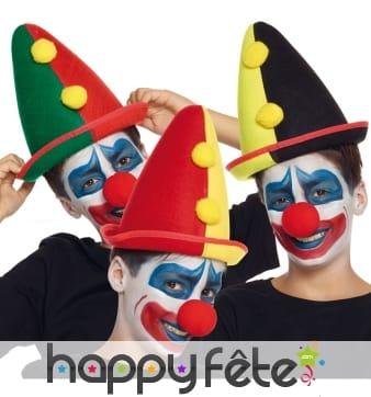 Chapeau de clown pointu pour enfant